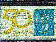 Logotipo de aniversário do ESO ricocheteado na Lua
