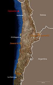 Epicentro del terremoto registrado en Chile el 1 de abril de 2014