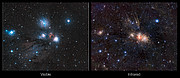 Infrared/visible light comparison of views of a stellar nursery in Monoceros