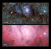 Infrared/visible light comparison of views of the Lagoon Nebula (Messier 8)