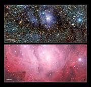 Comparación de imágenes en infrarroja/luz visible de la Nebulosa de la Laguna (Messier 8)