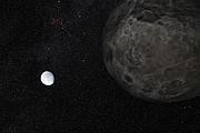 Impresión artística del planeta enano Eris y su luna Dysnomia