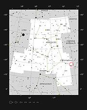 Aufsuchkarte für den Herkules-Galaxienhaufen