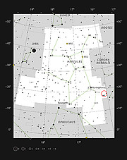 Herkules-galaksehobens placering