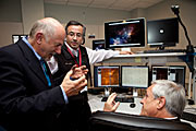 Chiles president Sebastián Piñera i kontrollrommet på Paranal
