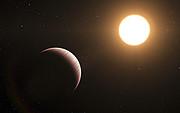 En kunstners forestilling af exoplaneten Tau Boötis b