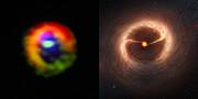Comparaison des observations d'ALMA et d'une vue d'artiste du disque et des écoulements de gaz autour de HD 142527