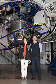 The Crown Prince Couple of Denmark inside one of the domes of ESO's Very Large Telescope