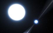 Impressão artística do pulsar PSR J0348+0432 e da sua companheira anã branca