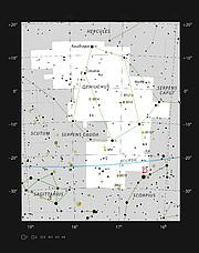 Localisation du système Oph-IRS 48 dans la constellation d'Ophiuchus