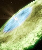 Artist's impression van de sneeuwgrenzen rond de ster TW Hydrae