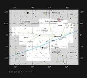 Messier 87 en la constelación de Virgo