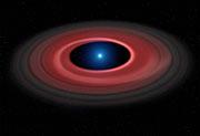 Ilustración del brillante disco de material alrededor de la enana blanca SDSS J1228+1040