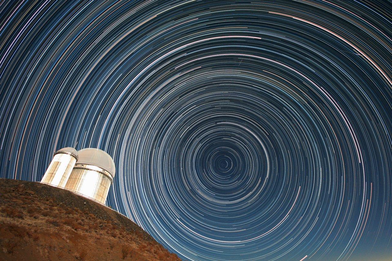 Star trails over the ESO 3.6-metre telescope