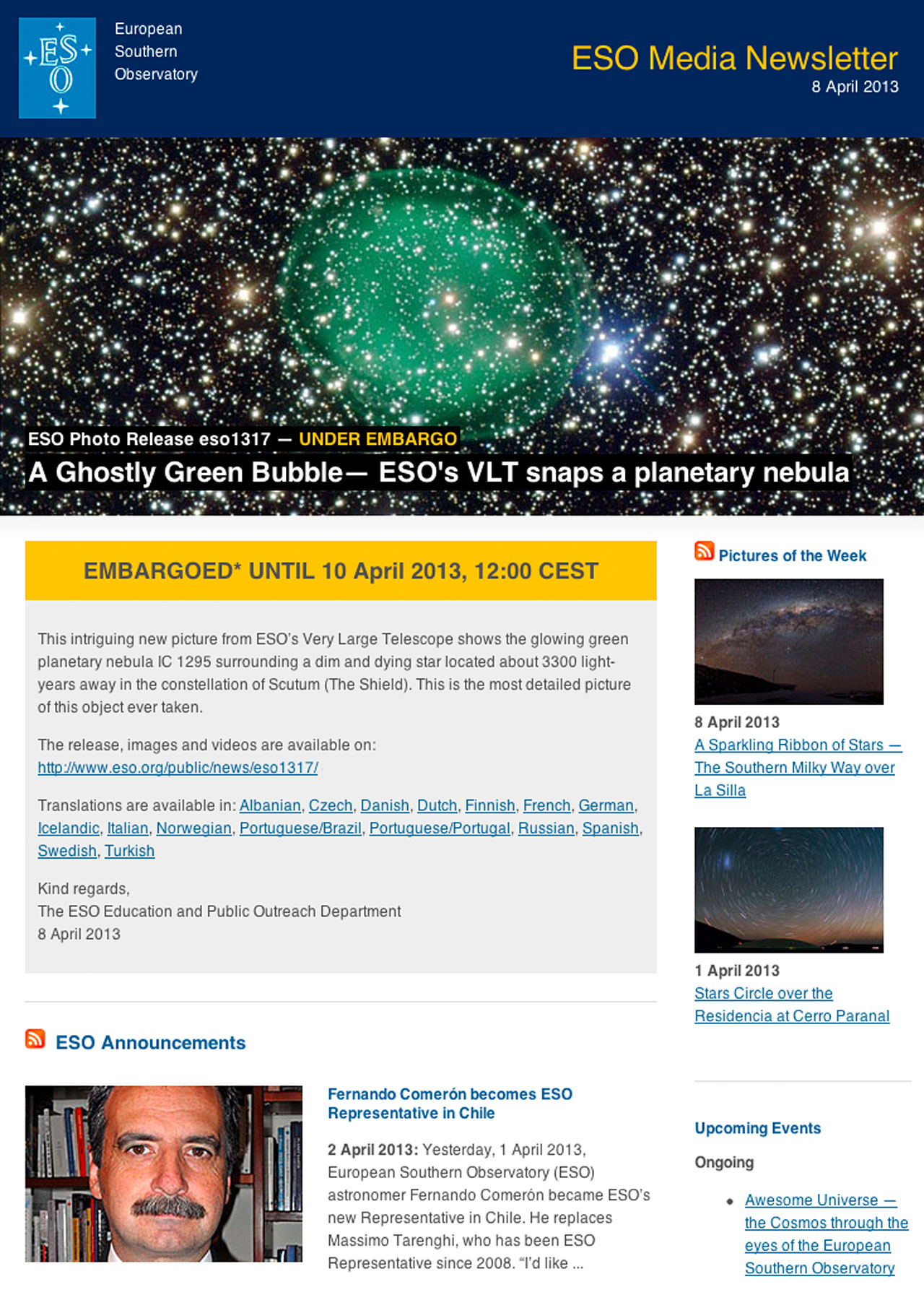 ESO Media Newsletter — 8 April 2013