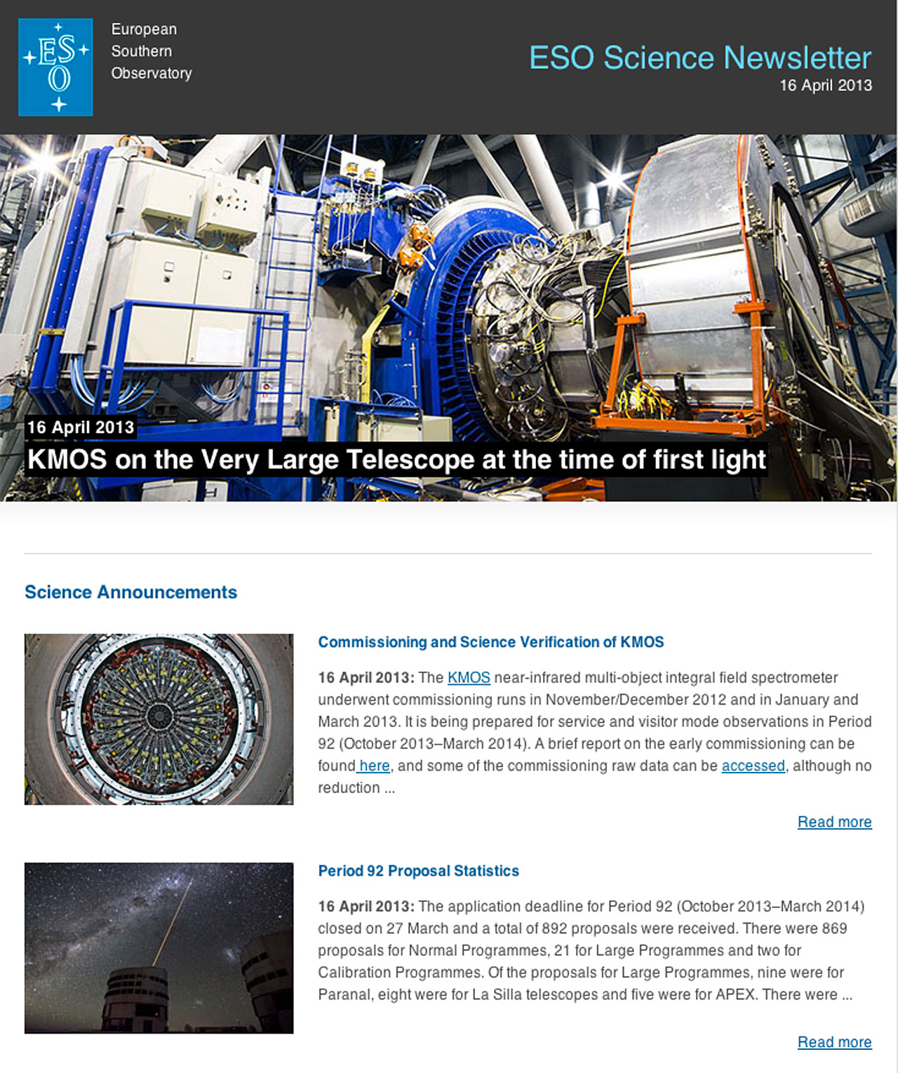 ESO Science Newsletter, April 2013