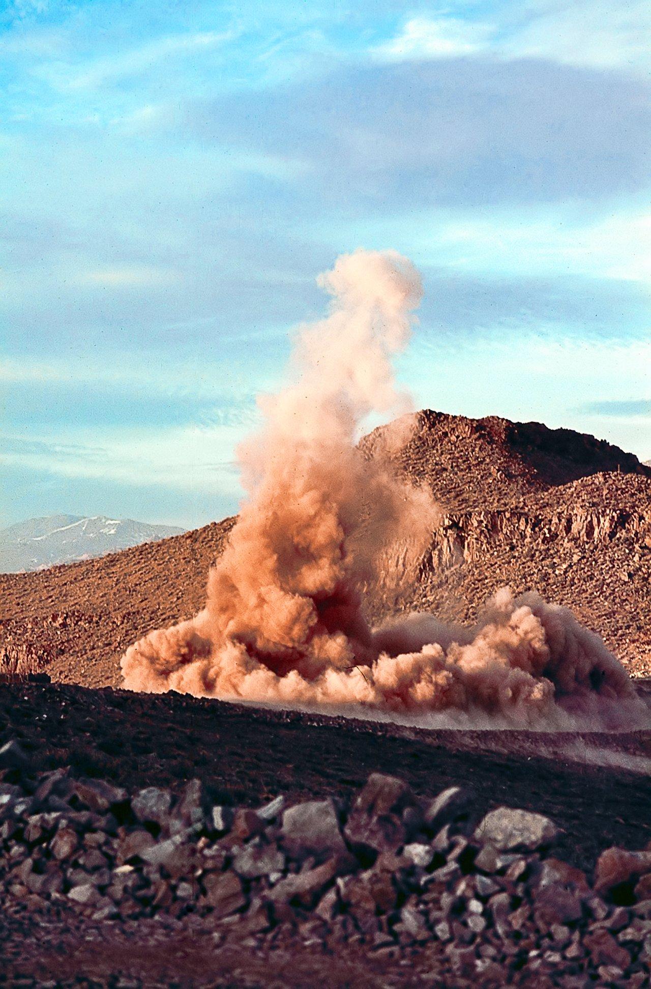 Dust cloud after rock blasting at La Silla