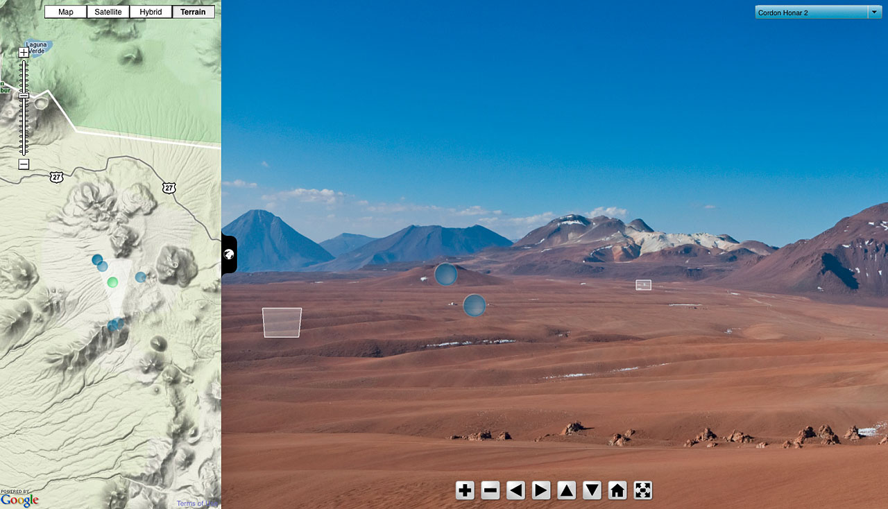 Screenshot of ESO Virtual Tours 360° at the Chajnantor plateau