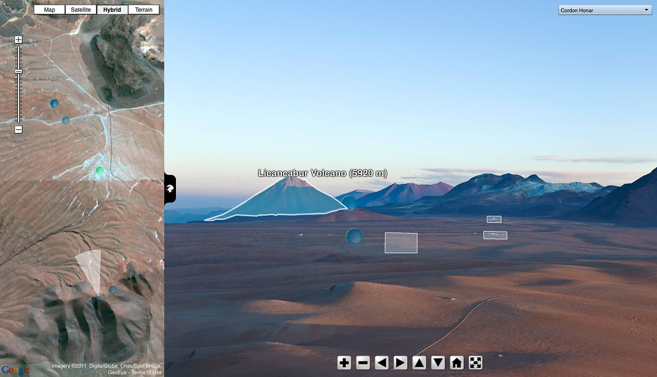 Screenshot of ESO Virtual Tours 360° at the Chajnantor plateau over the Licancabur Volcano