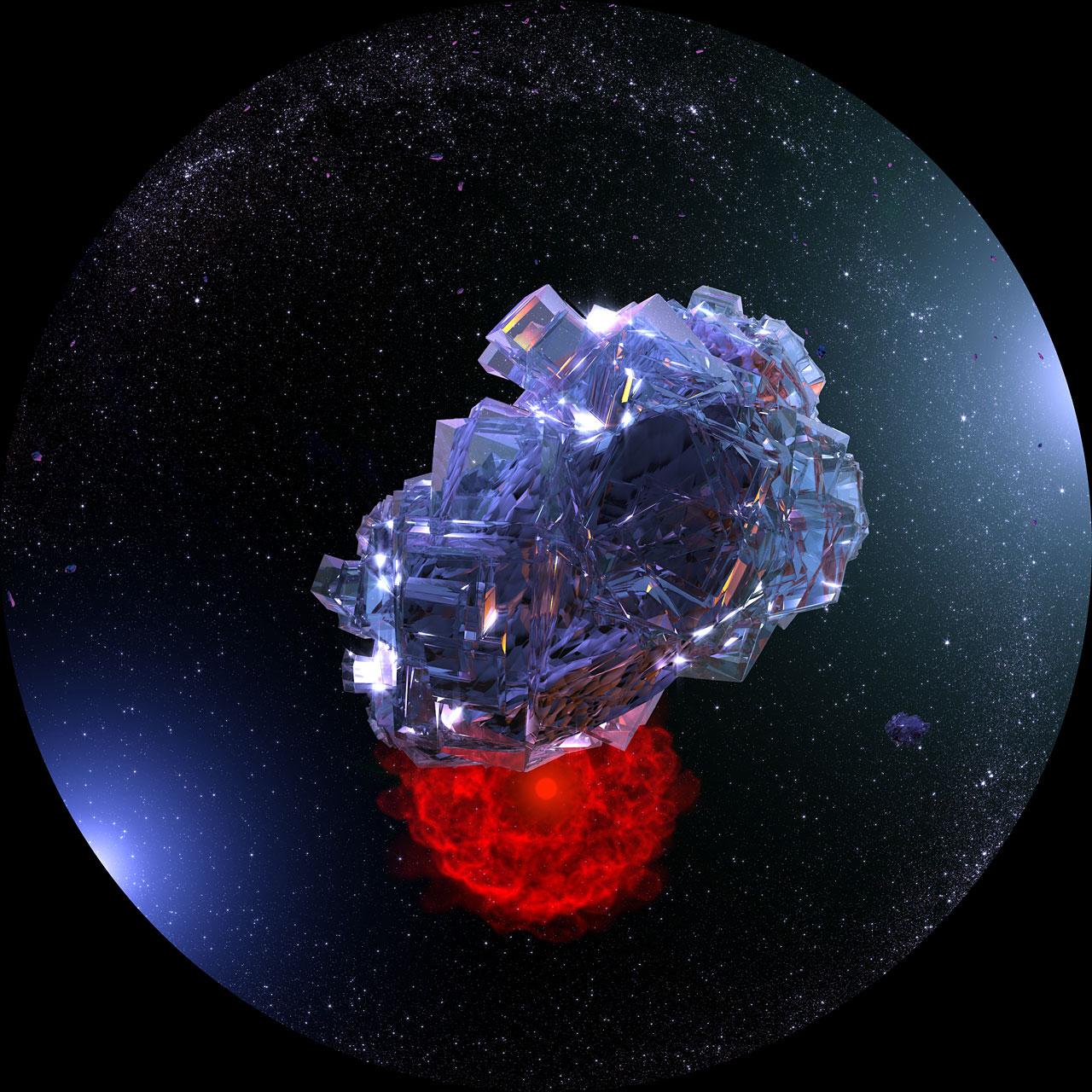 Künstlerische Darstellung eines Wassereiskristalls