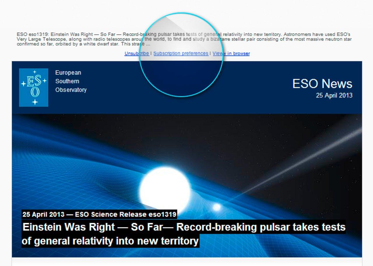 Ansicht des ESO News-Newsletters in einem E-Mail-Programm