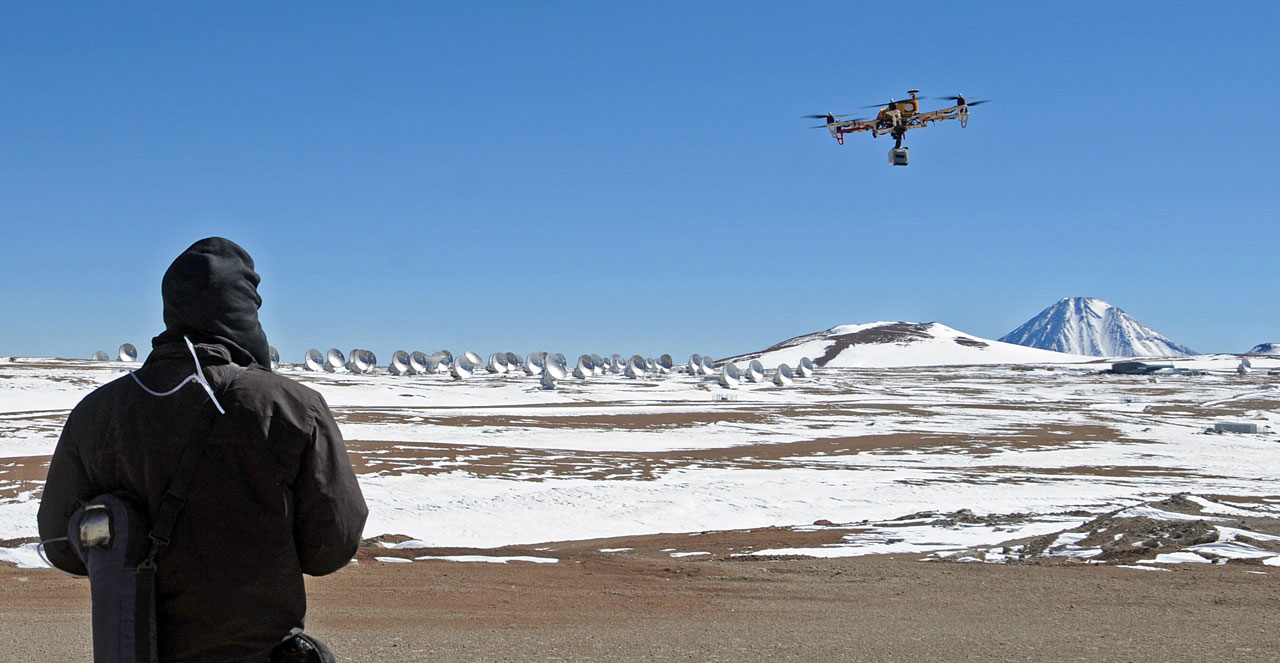 ALMA about to be imaged from a hexacopter
