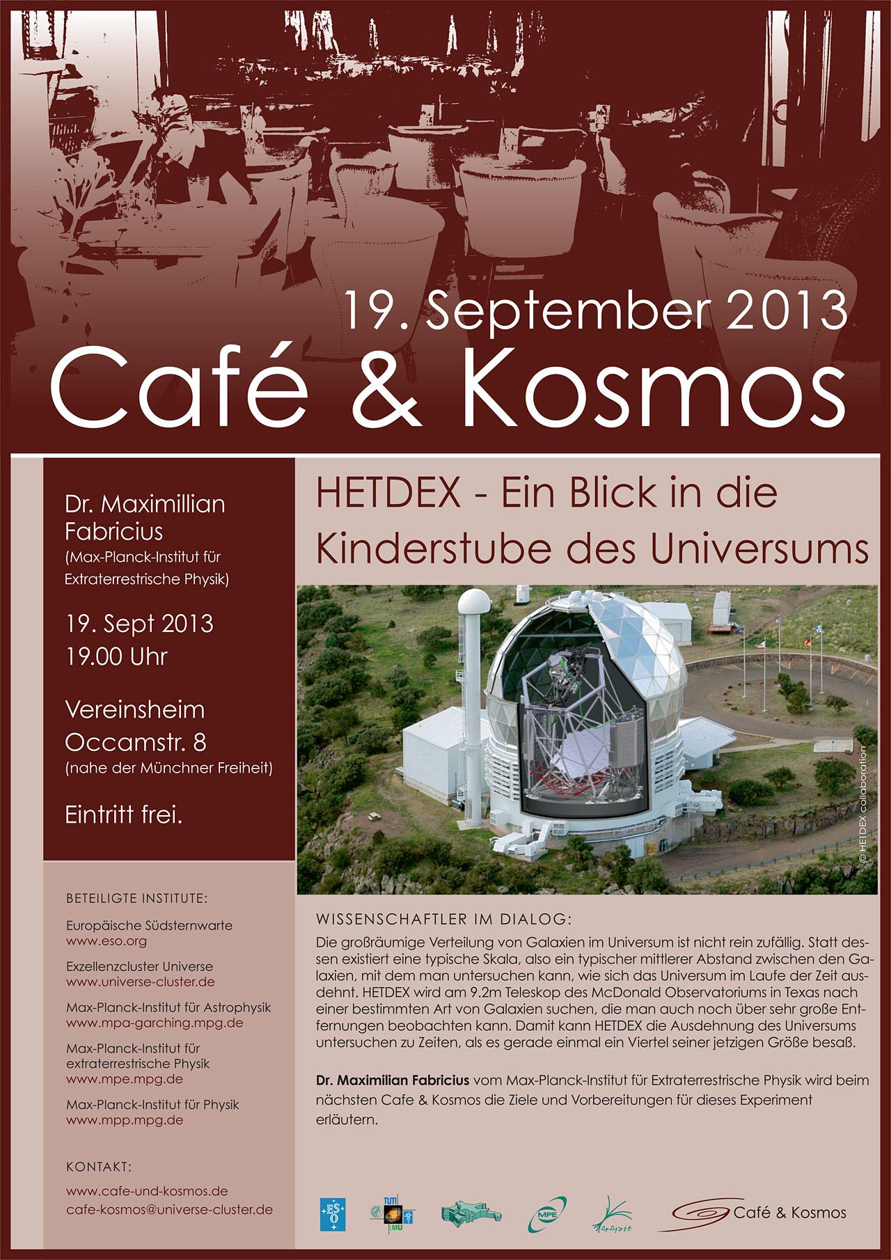 Poster zu Café & Kosmos am 19. September 2013