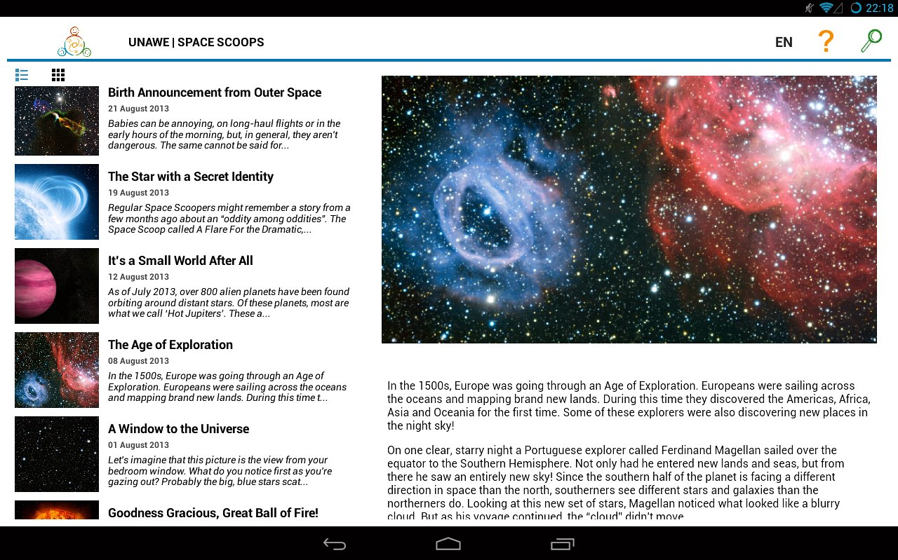 Screenshot of the Space Scoop Android app