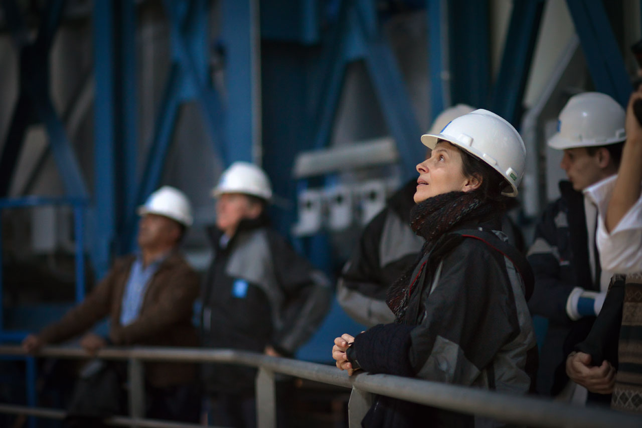 French actress Juliette Binoche in one of the VLT enclosures