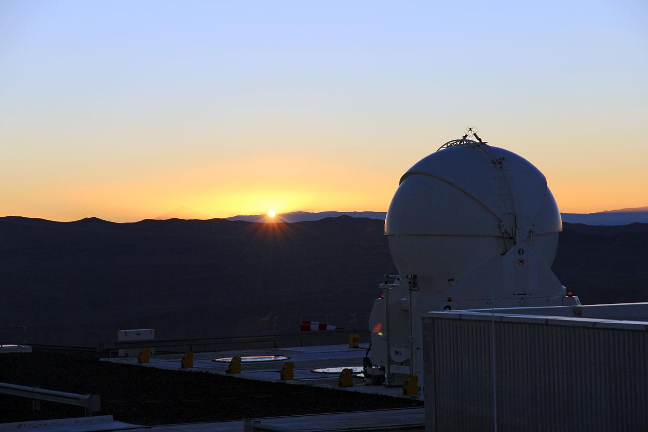 Auxiliary Telescope against a Setting Sun