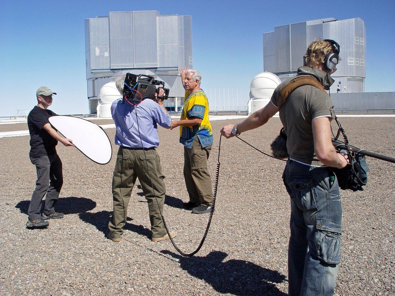 BBC crew filming at Paranal