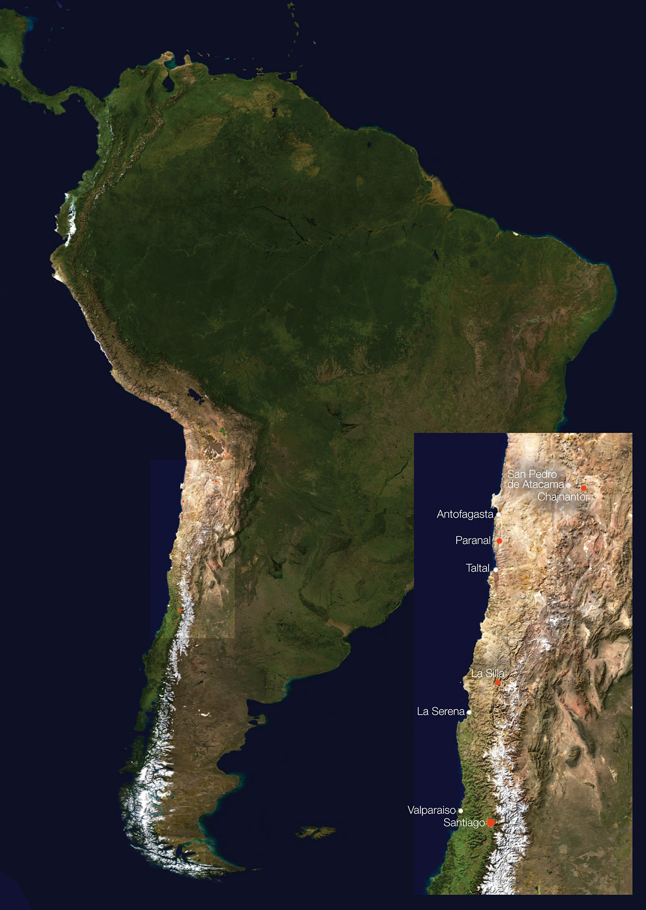 South America and ESO Facility Locations