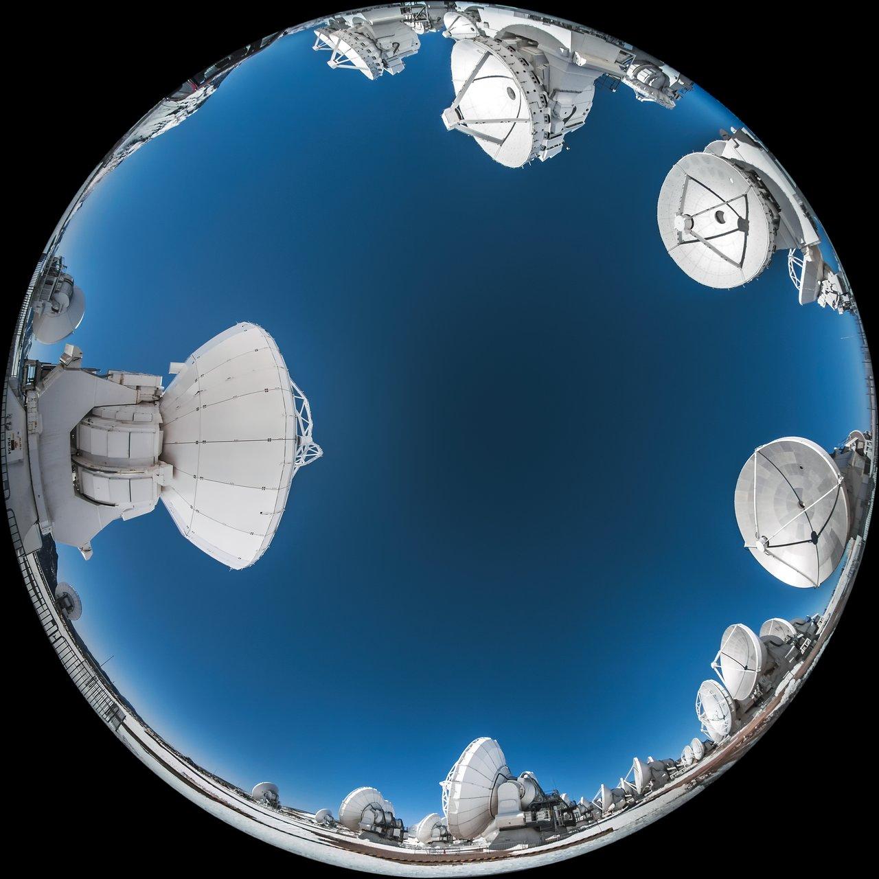 A fisheye view of ALMA.  Credit: ESO/A. Ghizzi Panizza (www.albertoghizzipanizza.com).
