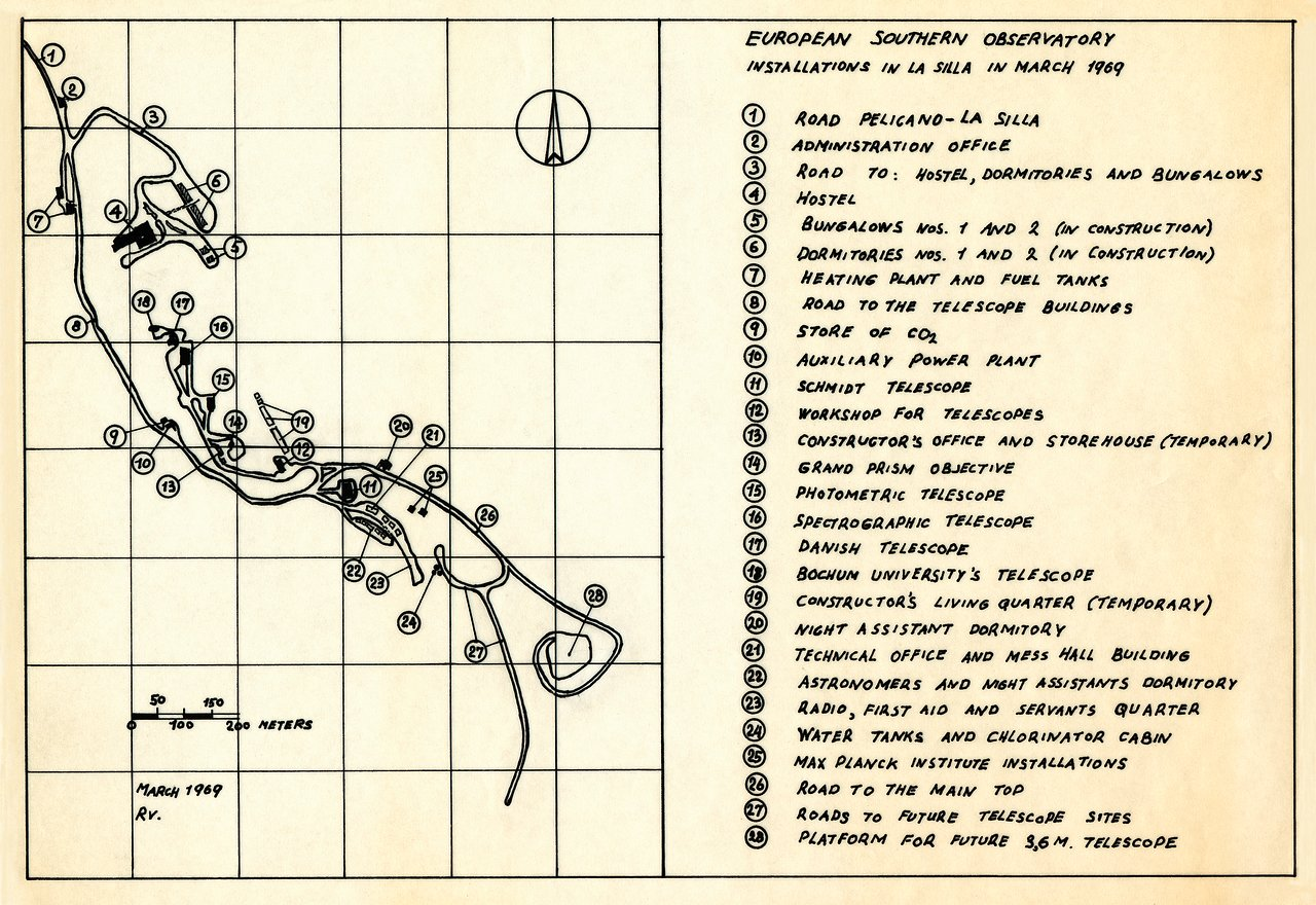 Map of the La Silla Observatory in 1969