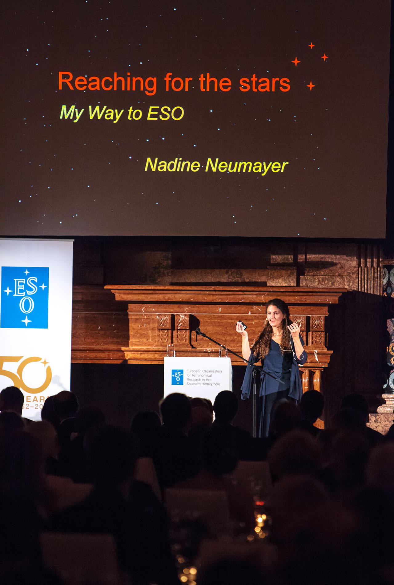Nadine Neumayer at the ESO 50th Anniversary Gala Event