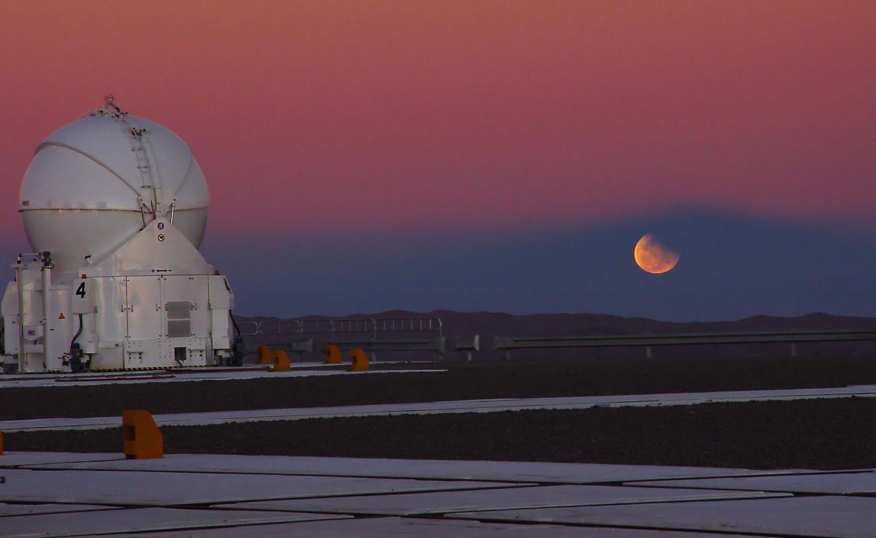 Partial lunar eclipse from the VLT platform