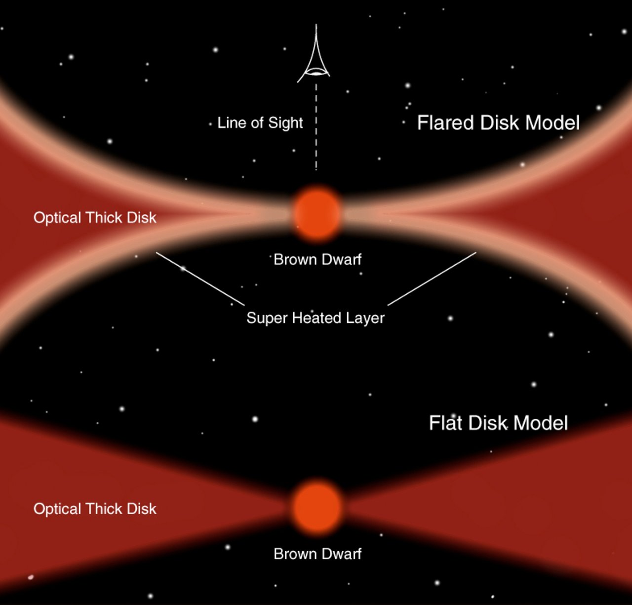 Models of brown dwarf disks (artist's impression)