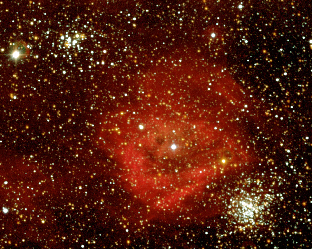 DEM L 159 Nebula and KMHK 840 and 831 Starclusters in the LMC