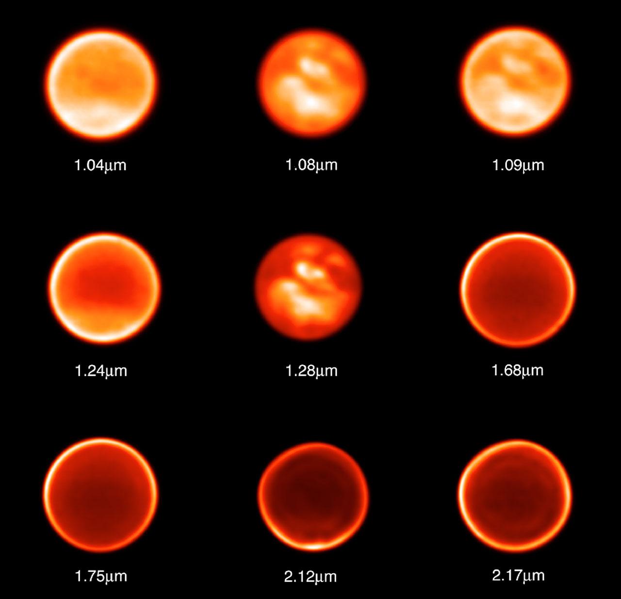 Titan Observed Through Nine Different Filters on November 26, 2002