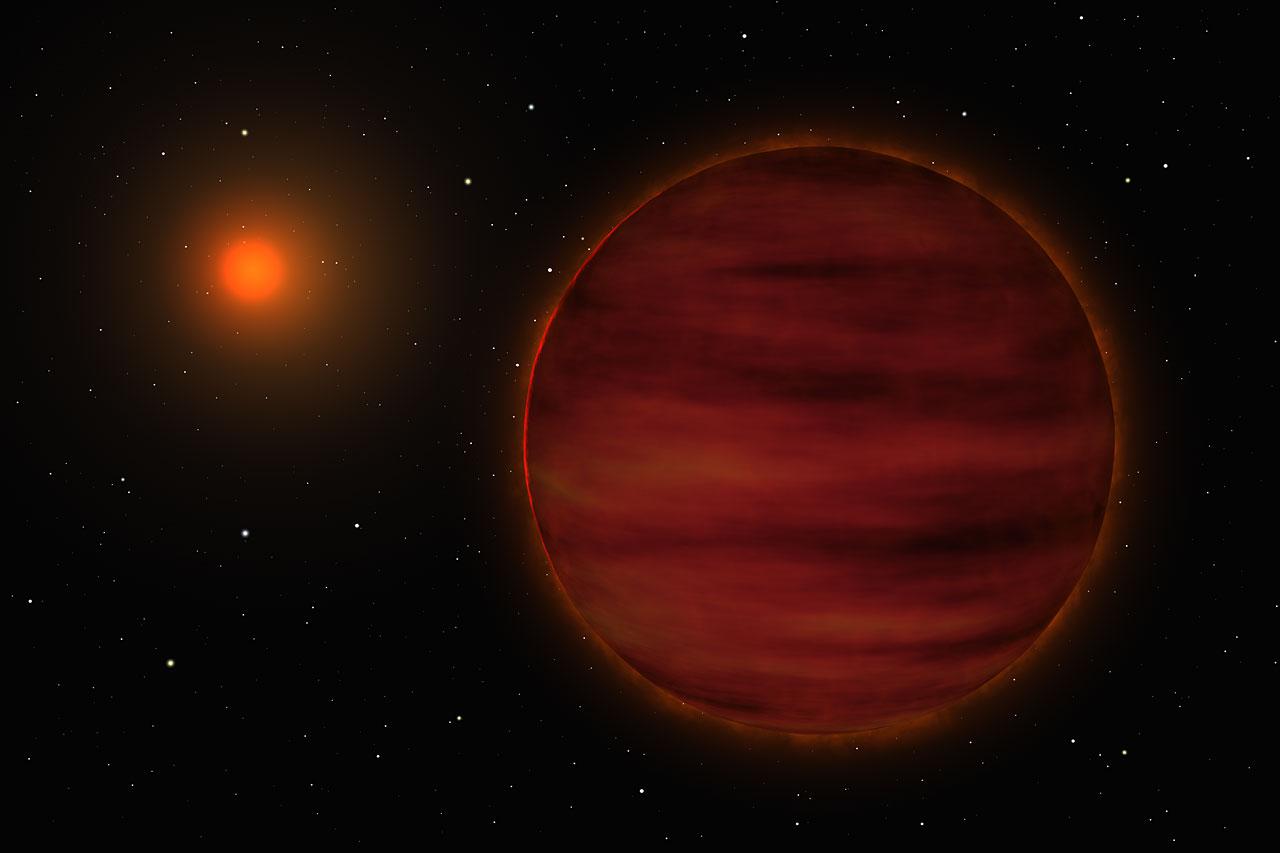 Impresión artística del sistema estelar SCR 1845-6357