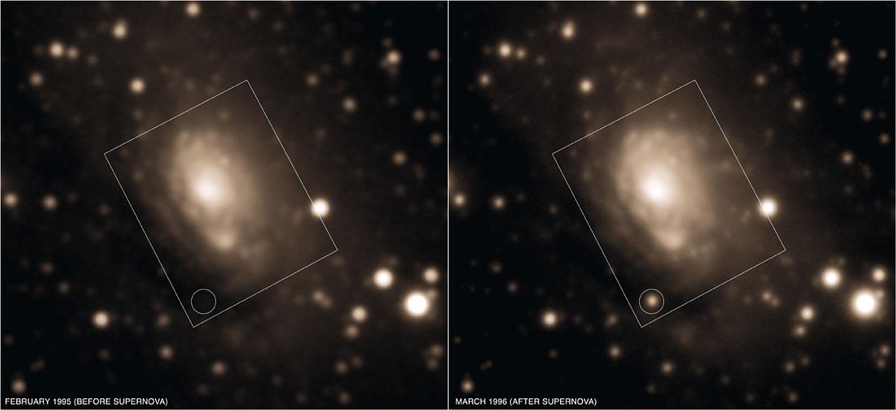 La galaxia Circinus antes y después de la aparición de SN 1996cr