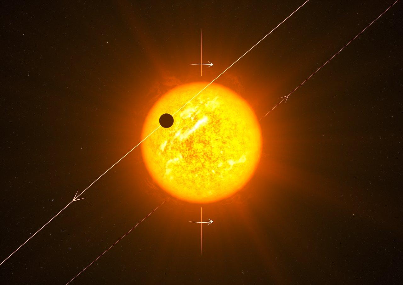 Impresión artística de un exoplaneta con una órbita retrógrada