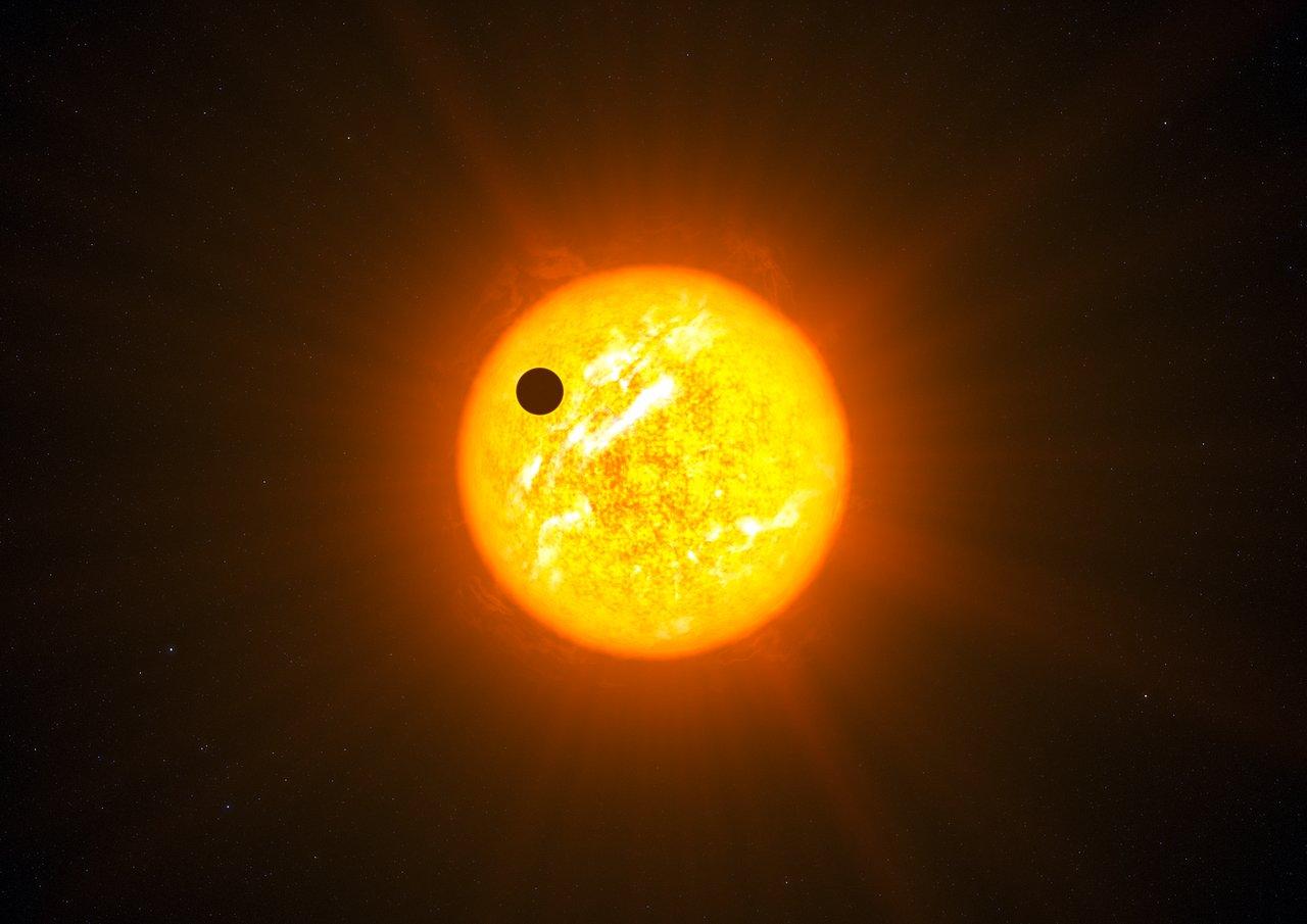Impresión artística de un exoplaneta con una órbita retrógrada (sin gráficas adicionales)