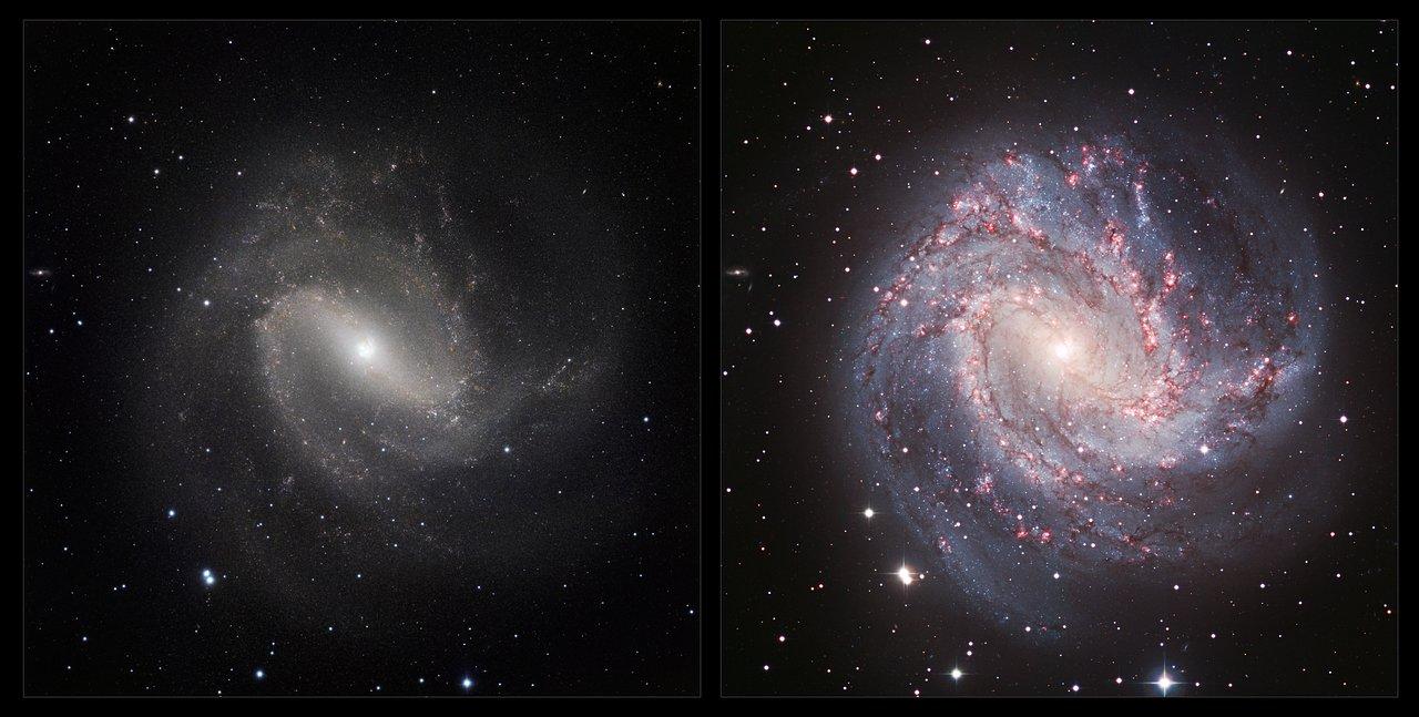 Una visión comparada de Messier 83 en infrarrojo/ visible