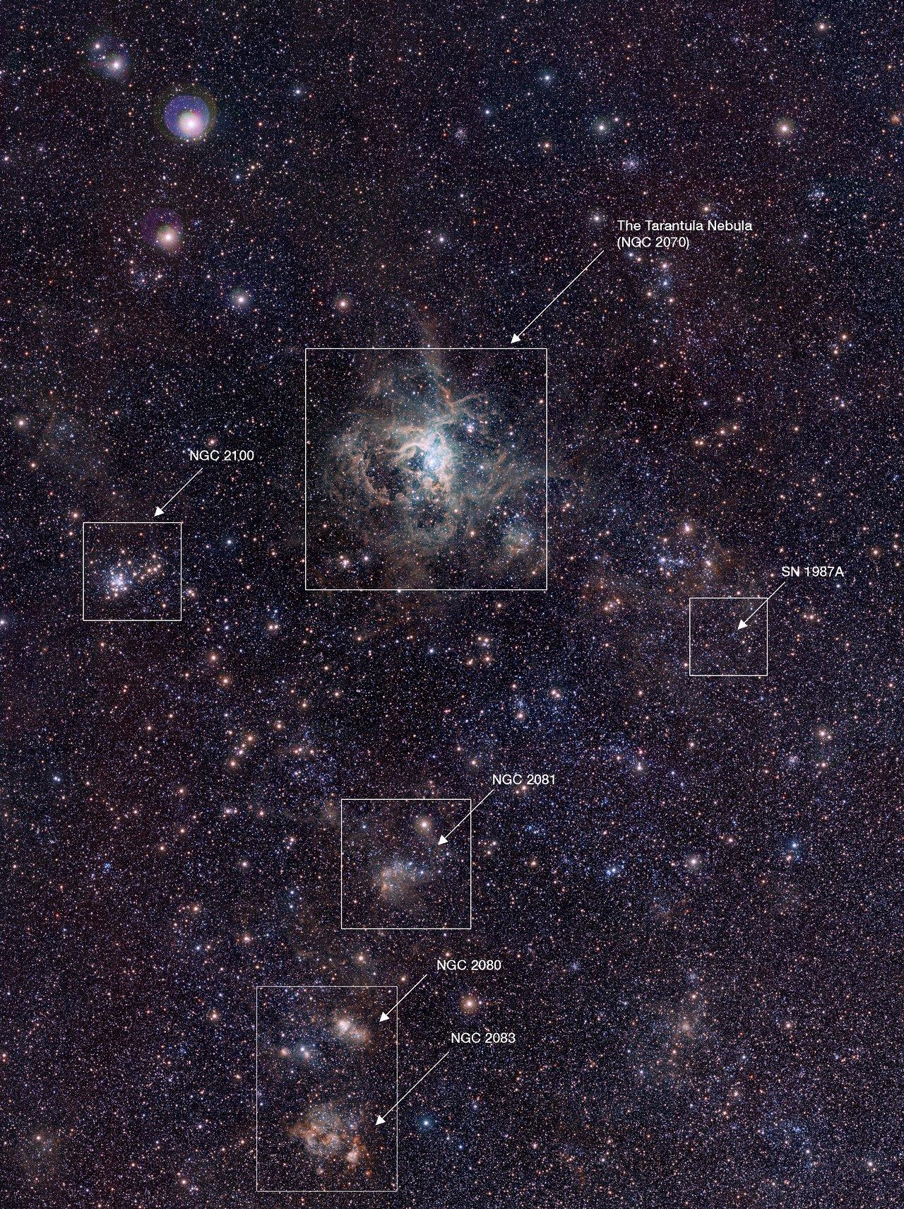 VISTA Magellanic Cloud Survey view of the Tarantula Nebula (annotated version)