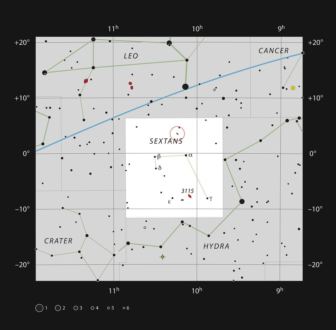 NGC 3169 y NGC 3166 en la constelación de Sextans