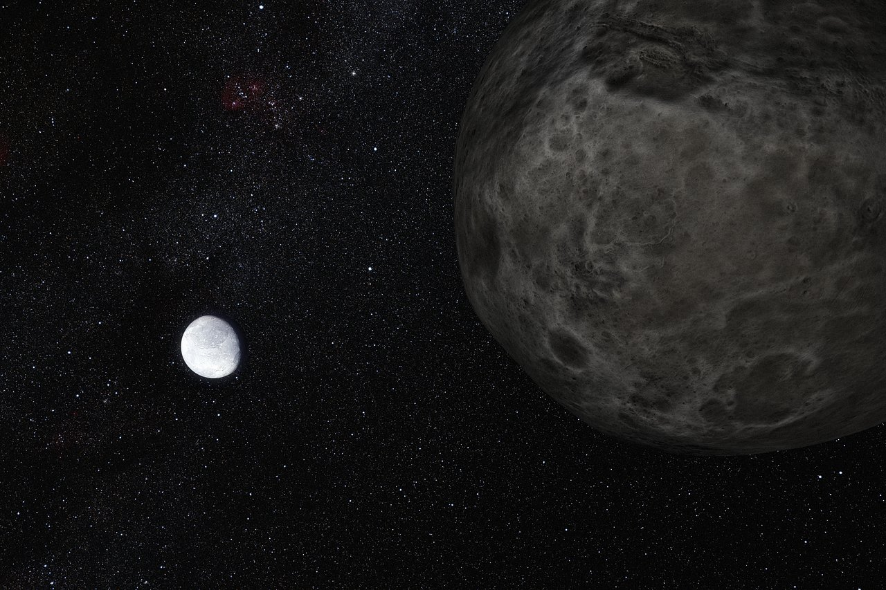 Artist's impression of the dwarf planet Eris and its moon Dysnomia