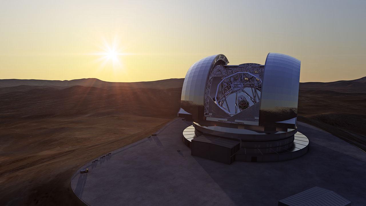The E-ELT at sunset (artist's impression)