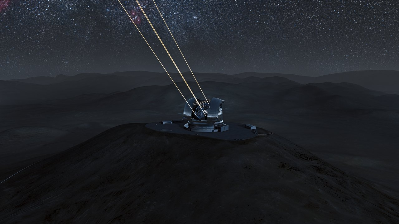 The E-ELT laser guide stars at work (artist's impression)