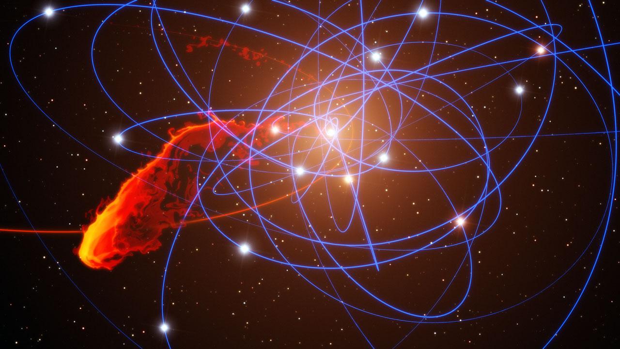 Simulación de la nube de gas después de acercarse rápidamente al agujero negro en el centro de la Vía Láctea